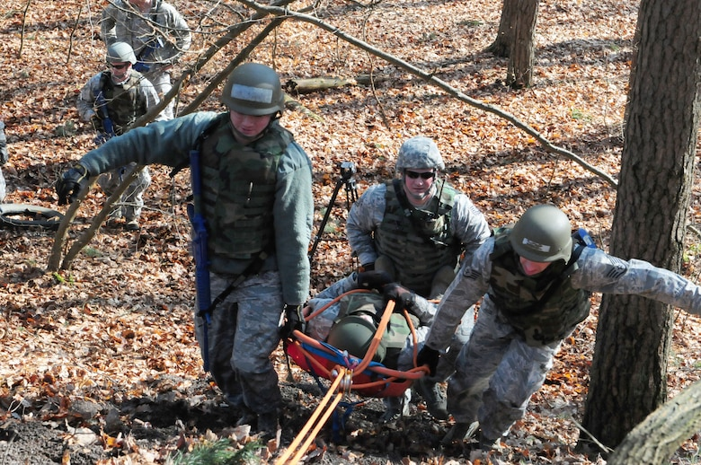 175th Fire and Emergency Services members perform a search and rescue exercise during Silver Flag 2016 at Ramstein Air Base, March 9. Silver Flag is an every 36 months required training for Air Force civil engineer specialties. (U.S. Air National Guard photo/ Senior Airman Erica Rodriguez)
