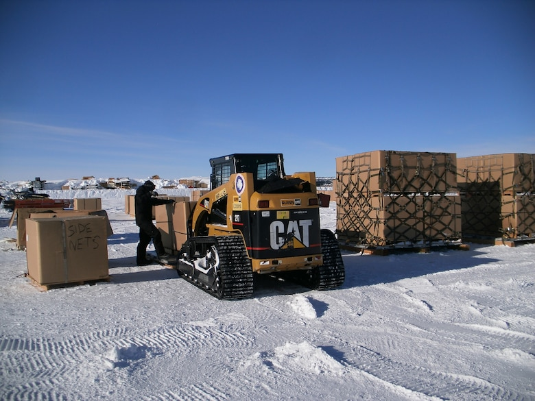 Three Airmen with the 109th Airlift Wing were tasked to build and inspect pallets of excess and obsolete materials in January 2016 currently stored at the South Pole. The team built 73 pallets in 11 days. (Courtesy photo)