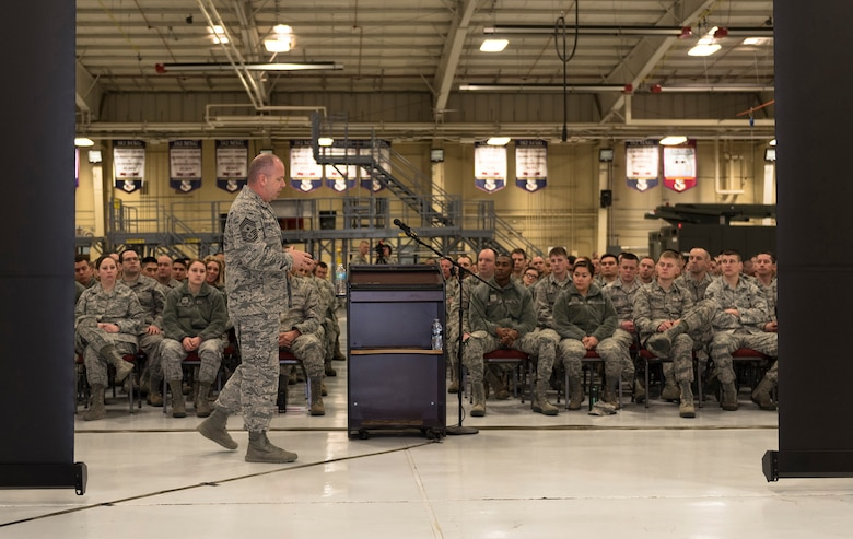 U.S. Air Force Chief Master Sgt. James W. Hotaling, the command chief of the Air National Guard, speaks with the Illinois Air National Guard 182nd Airlift Wing's enlisted corps in Peoria, Ill., March 4, 2016. Hotaling visited the base to discuss renewing the commitment to the profession of arms, the health of the force and embracing accomplishments. (U.S. Air National Guard photo by Staff Sgt. Lealan Buehrer)