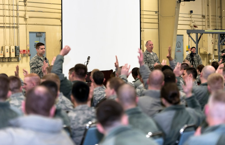 U.S. Air Force Chief Master Sgt. James W. Hotaling, right, the command chief of the Air National Guard, speaks with the Illinois Air National Guard 182nd Airlift Wing's enlisted corps in Peoria, Ill., March 4, 2016. Hotaling visited the base to discuss renewing the commitment to the profession of arms, the health of the force and embracing accomplishments. (U.S. Air National Guard photo by Staff Sgt. Lealan Buehrer)