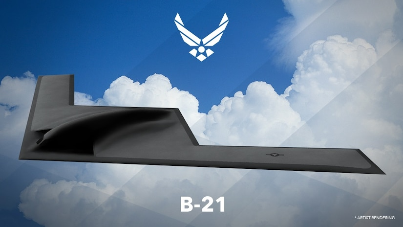 An artist's rendering of the B-21 Long-Range Strike Bomber. Air Force Secretary Deborah Lee James revealed the first rendering of the Long Range Strike Bomber, designated the B-21, at the Air Force Association's Air Warfare Symposium Feb. 26, 2016, in Orlando, Fla., and announced the Air Force will be taking suggestions from Airmen to help decide the name of the bomber.