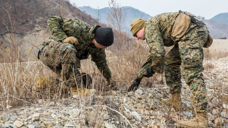 U.S. Marine explosive ordnance disposal technicians Gunnery Sgt. Jordan Torcello and Staff Sgt. Aaron Lane with the 13th Marine Expeditionary Unit investigate pieces of undetonated explosives during Exercise Ssang Yong 16 on Suseongri live-fire range, Pohang, South Korea, March 13, 2016. Ssang Yong is a biennial combined amphibious exercise conducted by U.S. forces with the Republic of Korea Navy and Marine Corps, Australian Army and Royal New Zealand Army Forces in order to strengthen interoperability and working relationships across a wide range of military operations.