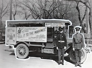 "Marine Corps Reserve Recruitment, Salt Lake City, UT, c. Feb 1926. Free tickets to a special screening of ""Tell it to the Marines"" was offered as incentive to join the Marine Corps or Marine Corps Reserve."