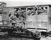 American Expeditionary Force, 2nd Division, 4th Marine Brigade, c. 1918. Marines fill a boxcar as they are transported across France during World War I.