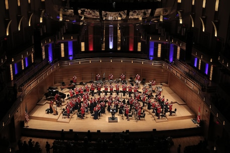 "On March 14, 2016, the Marine Band performed a concert titled ""Double Feature: Music of Adventure, Danger and Drama on the Silver Screen"" at the Music Center at Strathmore in North Bethesda, Md. The program included music from the films Out of Africa, Lincoln, The Sea Hawk, and Star Wars: The Force Awakes. Complete program: http://www.marineband.marines.mil/Portals/175/Docs/Programs/160314.pdf (U.S. Marine Corps photo by Master Sgt. Amanda Simmons/released)"