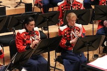"""On March 14, 2016, the Marine Band performed a concert titled """"Double Feature: Music of Adventure, Danger and Drama on the Silver Screen"""" at the Music Center at Strathmore in North Bethesda, Md. The program included music from the films Out of Africa, Lincoln, The Sea Hawk, and Star Wars: The Force Awakes. Complete program: http://www.marineband.marines.mil/Portals/175/Docs/Programs/160314.pdf (U.S. Marine Corps photo by Master Sgt. Amanda Simmons/released)"""