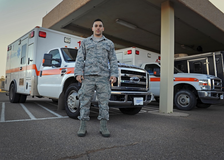 Senior Airman Paul Alkoby, 27th Special Operations Medical Operations Squadron aerospace medical technician, stands just outside the clinic March 2, 2016, at Cannon Air Force Base, N.M. Alkoby has come to the aid of those in need both on and off duty time and time again, solidifying his status as a trusted care hero amongst Air Force medical professionals; he credits his upbringing and the Air Force's integrity-first mindset for his inability to standby while others are in need. (U.S. Air Force photo/Staff Sgt. Whitney Amstutz)
