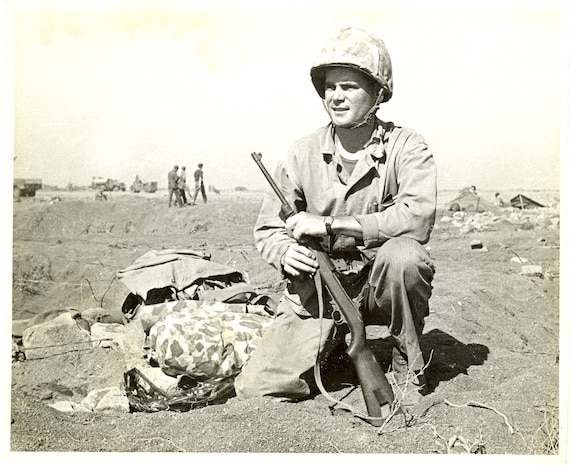 Fourth Marine Division, Iwo Jima, Japan, 1945. 2nd Lt. James T. Dockery, USMCR, one of many Marines, served with the 4th Marine Division in all its campaigns across the Pacific: Roi-Namur, Saipan, Tinian, and Iwo Jima.