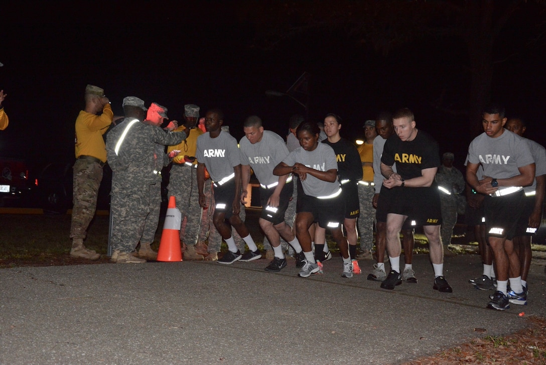 Get set, get ready, Go!!! Soldiers from various 143d Sustainment Command (Expeditionary) subordinate units had an early morning today at Camp Blanding, Fla., as they participate in the first of five events for the 143d ESC Best Warrior Competition (BWC) 2016, the Army Physical Fitness Test.