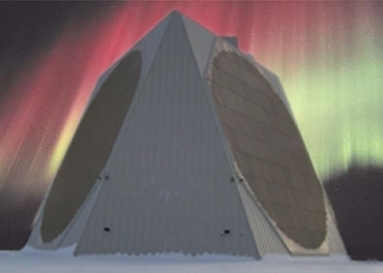 The Solid State Phased Array Radar System at Clear Air Force Station, Alaska, stands under the Aurora Borealis. The system rises more than 100 feet from the Alaskan interior to provide early warning of ballistic missile attacks against the U.S. and Canada and space situational awareness. (Courtesy photo)