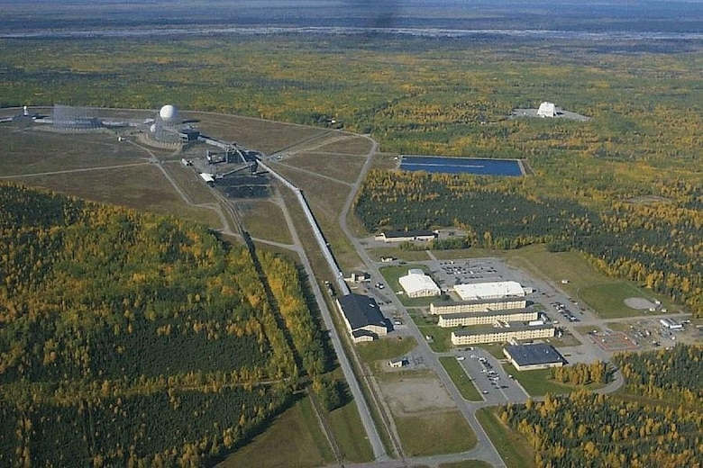 The installation at Clear Air Force Station sprawls over the Alaskan interior. The 11-story tall Solid State Phased Array Radar system is visible at the top right. (Courtesy photo)