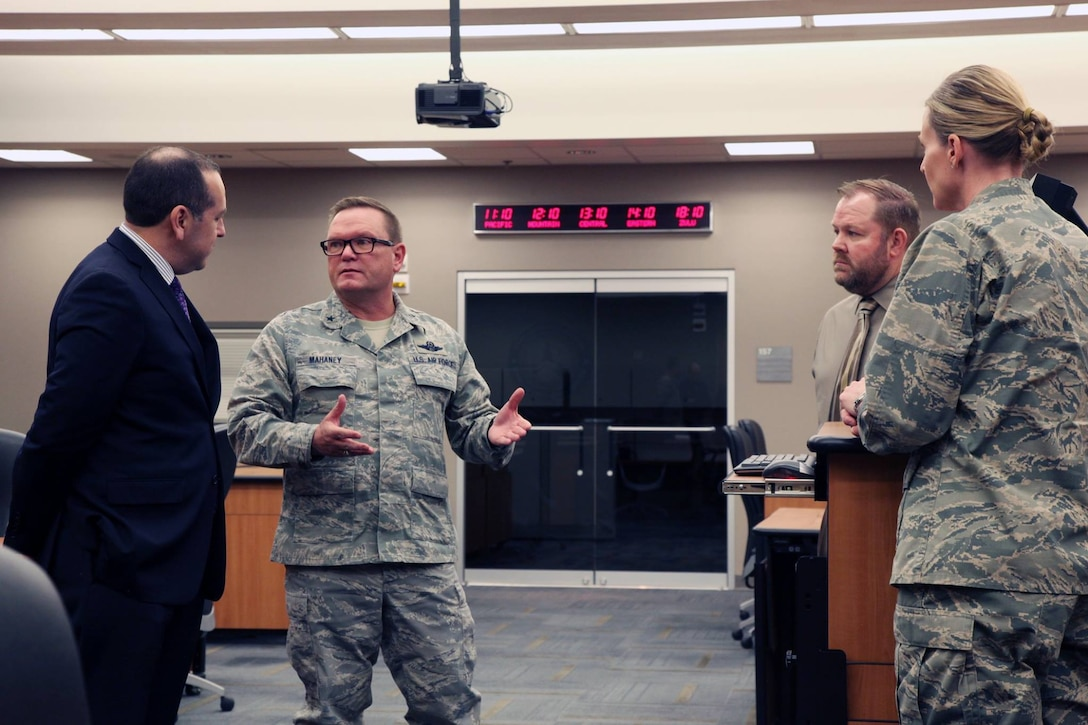 """The Honorable Gabriel Camarillo, Assistant Secretary of the Air Force for Manpower and Reserve Affairs, was greeted by Brig. Gen. Samuel """"Bo"""" Mahaney, Air Reserve Personnel Center commander, during his visit to the ARPC headquarters March 16, 2016 on Buckley Air Force Base, Colo. (U.S. Air Force photo/ Master Sgt. Christian Michael)"""