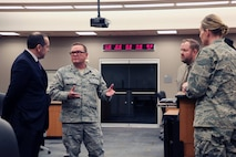 "The Honorable Gabriel Camarillo, Assistant Secretary of the Air Force for Manpower and Reserve Affairs, was greeted by Brig. Gen. Samuel ""Bo"" Mahaney, Air Reserve Personnel Center commander, during his visit to the ARPC headquarters March 16, 2016 on Buckley Air Force Base, Colo. (U.S. Air Force photo/ Master Sgt. Christian Michael)"