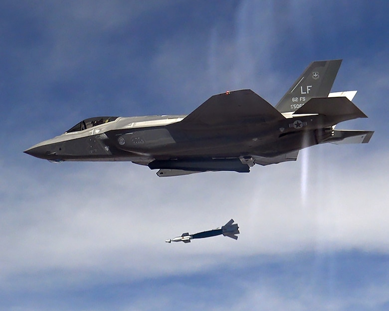 The F-35A Lightning II program took another step toward initial operational capability yesterday when two aircraft assigned to the 62nd Fighter Squadron successfully employed four laser-guided bombs on the Barry M. Goldwater Range.