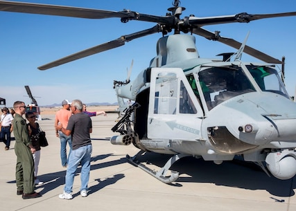 Spectators get an up-close look at military static display aircraft and vehicles during the Yuma Patriot Festival at Marine Corps Air Station Yuma, Ariz., Saturday, Feb. 27, 2016.
