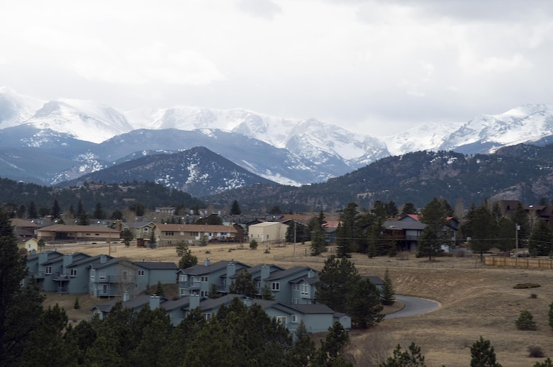 Estes Park, Colo., lies in a valley in front of the Continental Divide, March 13, 2016. This was one of the views members of an outdoor recreation trip from F.E. Warren Air Force Base, Wyo., got during a two-hour trail ride. (U.S. Air Force photo by R.J. Oriez)