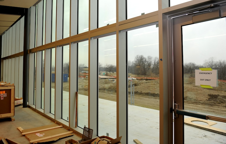 Daylight shines through floor to ceiling windows in the new Whiteman Bowling Center's dining area at Whiteman Air Force Base, Mo., Feb. 23, 2016. The new facility will have a larger dining area than the old bowling center and additional seating outside. (U.S. Air Force photo by Tech Sgt. Miguel Lara)