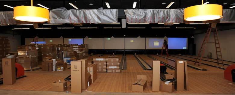 Building supplies sit atop the new Whiteman Bowling Center lanes at Whiteman Air Force Base, Mo., Feb. 23, 2016. Upon completion, the new Bowling Center will feature 16 lanes and a new entertainment system that will enable users to bowl traditional games or play a variety of modified game sets.