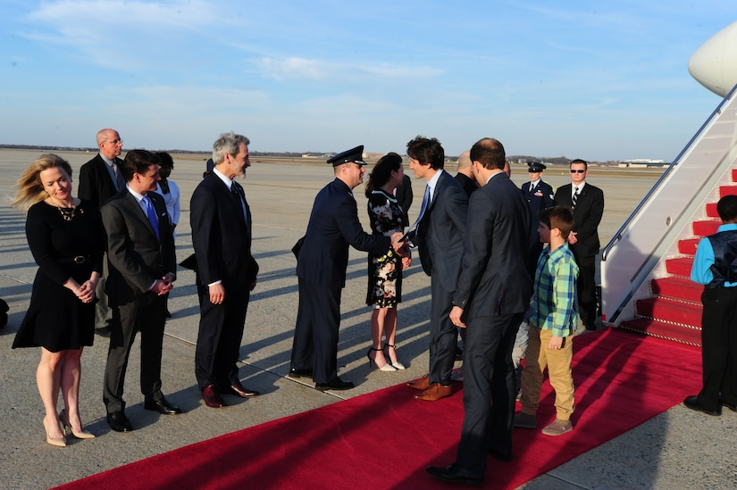 Canadian Prime Minister Justin Trudeau is greeted by Canadian Embassy representatives and Joint Base Andrews leadership at JBA, Md., March 11, 2016. Trudeau arrives for his first U.S. state visit as Canada's newest PM to strengthen U.S.-Canadian relations. (U.S. Air Force photo by Senior Airman Joshua R. M. Dewberry/RELEASED)