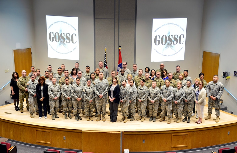 MCGHEE TYSON AIR NATIONAL GUARD BASE, Tenn. - Soldiers, Airmen and civilians assigned to general officers take a group photo at the I.G. Brown Training and Education Center here March 15, 2016, during the General Officer Support Staff Course. (U.S. Air National Guard photo by Master Sgt. Jerry Harlan/Released)