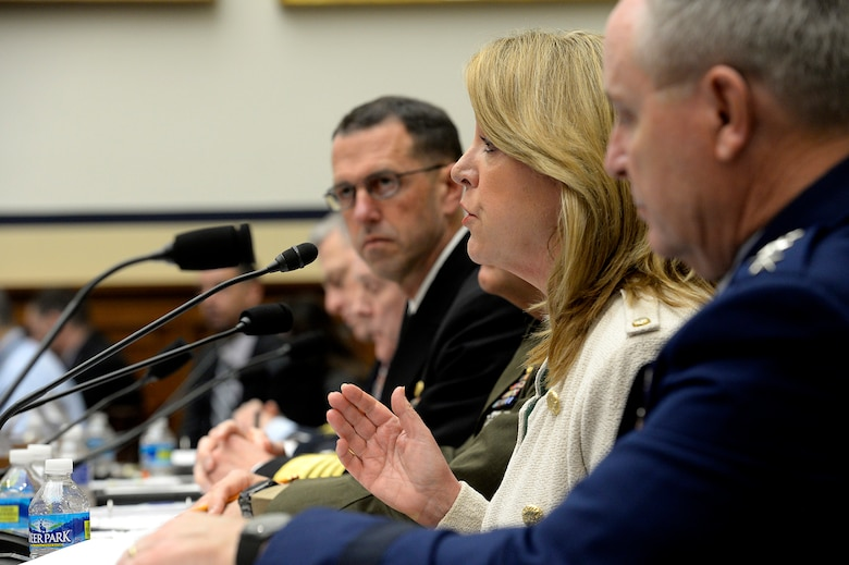 Air Force Secretary Deborah Lee James and Air Force Chief of Staff Gen. Mark A. Welsh III testify before the House Armed Services Committee along with other Defense Department leaders on their budget proposal for fiscal year 17 in Washington, D.C., March 16, 2016. (U.S. Air Force photo/Scott M. Ash)