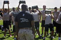Marines from Recruiting Sub-Station Waco, Texas, hosted a Combat Fitness Test for high school football athletes from University High School, Waco, Texas, March 15, 2016. The CFT is an annual requirement of all Marines to evaluate a Marine's physical aptitude in combat related tasks. (U.S. Marine Corps photo by Sgt. Rebecca Eller)
