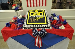The birthday cake celebrating the 107th year of the U.S. Army Reserve was prepared by the staff at the Maj. Chester Garret Dining Facility on McGregor Range, N.M.