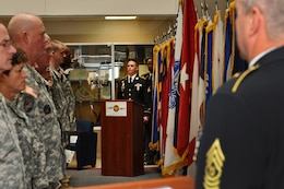 Sgt. Angel Olivo, center, 85th Support Command, recites the Soldier's Creed with Command Sgt. Maj. Kevin Greene, command sergeant major of the 85th Support Command during a celebration of the Army Reserve's 106th birthday at their unit's headquarters on April 5. (U.S. Army photo by Sgt. 1st Class Anthony L. Taylor/Released)