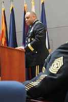 Brig. Gen. Gracus K. Dunn, Commanding General, 85th Support Command and deputy commanding general for support, First Army Division-West; gives remarks on the Army Reserve's and unit's ninety-seven year history during the unit's celebration of the 106th birthday of the Army Reserve at the unit's headquarters on April 5.