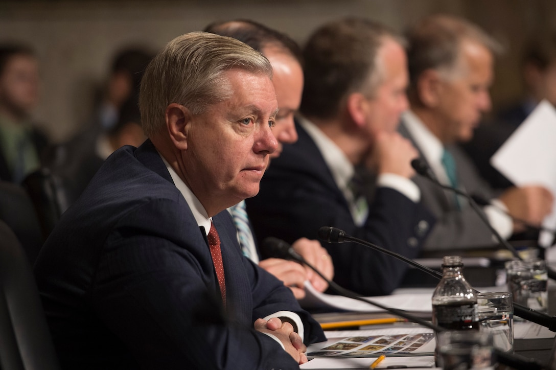 U.S. Sen. Lindsey Graham of South Carolina, left, listens as Defense Secretary Ash Carter testifies on the Defense Department's proposed fiscal year 2017 budget before the Senate Armed Services Committee in Washington, D.C., March 17, 2016. DoD photo by Air Force Senior Master Sgt. Adrian Cadiz