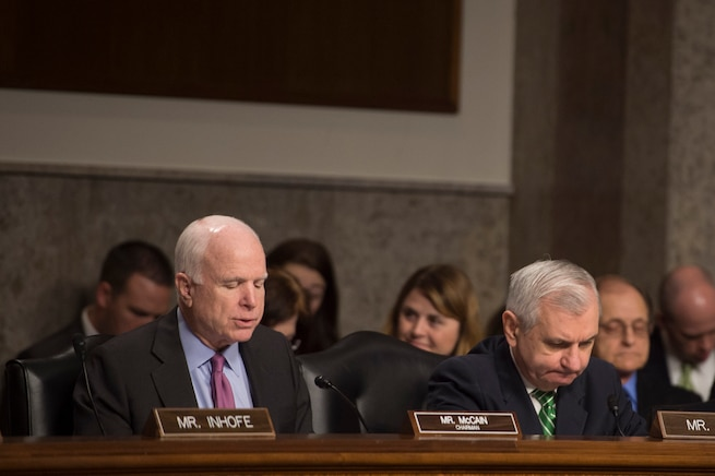 U.S. Sen. John McCain of Arizona questions Defense Secretary Ash Carter (not pictured) during a hearing on the Defense Department's proposed fiscal year budget before the Senate Armed Services Committee in Washington, D.C., March 17, 2016. DoD photo by Air Force Senior Master Sgt. Adrian Cadiz