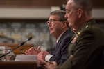 Defense Secretary Ash Carter testifies on the Defense Department's proposed fiscal year 2017 budget during a posture hearing before the Senate Armed Services Committee as Marine Corps Gen. Joseph F. Dunford Jr., chairman of the Joint Chiefs of Staff, looks on in Washington, D.C., March 17, 2016. DoD photo by Senior Master Sgt. Adrian Cadiz