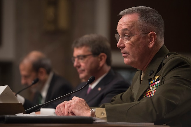 Marine Corps Gen. Joseph Dunford, chairman of the Joint Chiefs of Staff, testifies on the Defense Department's proposed fiscal year 2017 budget as Defense Secretary Ash Carter listens before the Senate Armed Services Committee in Washington, D.C., March 17, 2016. DoD photo by Air Force Senior Master Sgt. Adrian Cadiz