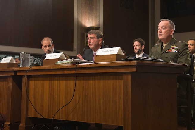 Defense Secretary Ash Carter, center, testifies on the Defense Department's proposed fiscal year 2017 budget before the Senate Armed Services Committee in Washington D.C., March 17, 2016. Marine Corps Gen. Joseph F. Dunford Jr., chairman of the Joint Chiefs of Staff, and Mike McCord, the department's comptroller, left, also testified. DoD photo by Air Force Senior Master Sgt. Adrian Cadiz