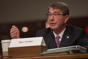 Defense Secretary Ash Carter testifies on the Defense Department's proposed fiscal year 2017 budget during a posture hearing before the Senate Armed Services Committee in Washington, D.C., March 17, 2016. DoD photo by Air Force Senior Master Sgt. Adrian Cadiz