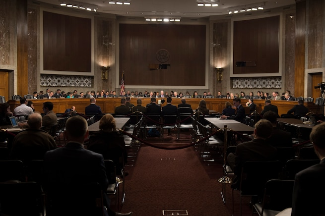 Defense Secretary Ash Carter and Marine Corps Gen. Joseph F. Dunford Jr., chairman of the Joint Chiefs of Staff, testify on the Defense Department's proposed fiscal year 2017 budget before the Senate Armed Services Committee in Washington, D.C., March 17, 2016. DoD photo by Air Force Senior Master Sgt. Adrian Cadiz