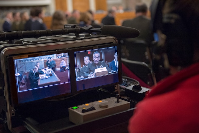 Monitors show Marine Corps Gen. Joseph F. Dunford, chairman of the Joint Chiefs of Staff, as he testifies on the Defense Department's proposed fiscal year 2017 budget before the Senate Armed Services Committee in Washington, D.C., March 17, 2016. DoD photo by Navy Petty Officer 2nd Class Dominique A. Pineiro