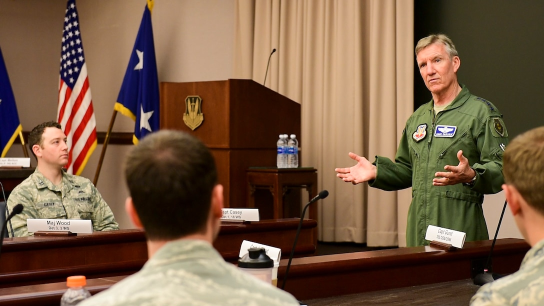 U.S. Air Force Gen. Hawk Carlisle, commander of Air Combat Command, speaks to an estimated 120 Airmen, consisting mostly of unit-level flight leaders from 55 units during the 2016 ACC Weather Conference held on Langley Air Force Base, Virginia on Mar. 8, 2016.