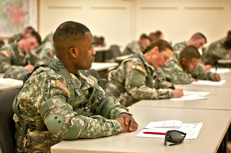 U.S. Army Reserve Soldiers compete the essay portion of the 316th Sustainment Command (Expeditionary) Best Warrior Competition at Fort Knox, Ky., March 16, 2016. (U.S. Army photo by Staff Sgt. Dalton Smith/Released)