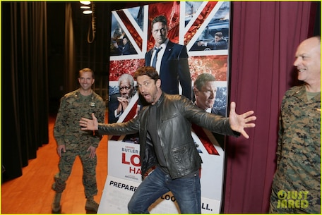 """Hollywood star Gerard Butler visited Camp Pendleton, where he screened his new movie, """"London Has Fallen,"""" in with military and their families. Butler, escorted by Col. Ian R. Clark and Lt. Col. David Fairleigh, said the troops have always been big supporters of his movies, and this visit was about honoring our real-life"""