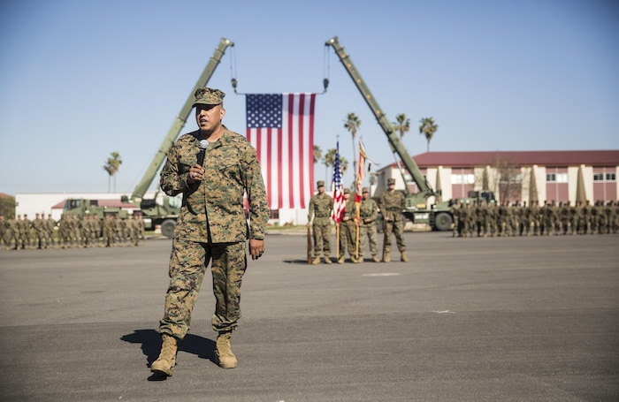 """Master Gunnery Sgt. Martin Duarte gives a speech to bring his retirement ceremony to a close, Feb. 11, 2016. Duarte steeped on the yellow footprints in May 1986 at Marine Corps Recruit Depot San Diego and retired after 30 years of service with the Corps. As a leader of Marines, Duarte said he strived to lead by example and promoted service before self. An example of what inspires Duarte comes an Albert Pine quote: """"What we do for ourselves dies with us. What we do for others and the world remains and is immortal.""""(U.S. Marine Corps photo by Cpl. April L. Price/Released)"""