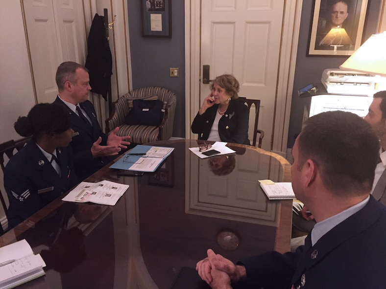 Col. Brian S. Bowman, commander, 914th Airlift Wing, meets with Congresswoman Louise M. Slaughter on March 15, 2016 during the Air Force Reserve Commanders' Capitol Hill Visit Program. The program is designed to build long-term, face-to-face relationships with members of Congress and their staffs. (U.S. Air Force photo by Lt. Col. Paul DeLano)
