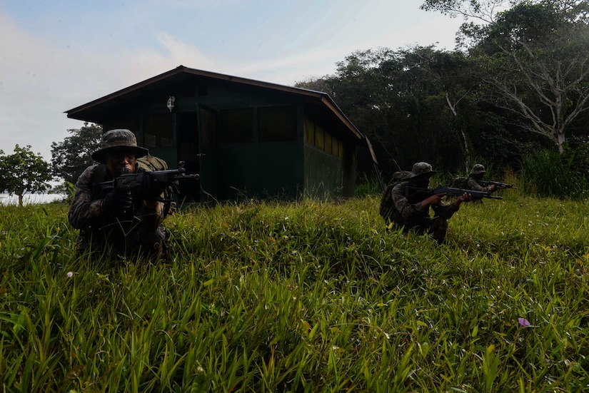 Guatemalan marines conduct squad-level training March 9, 2016, Guatemala, during a partnership with a U.S. Marine Security Cooperation Team. These teams of U.S. Marines are comprised of subject matter experts who provide partner nations in the Central American region with best practices for countering transnational criminal organizations. (U.S. Air Force photo by Staff Sgt. Westin Warburton/RELEASED)