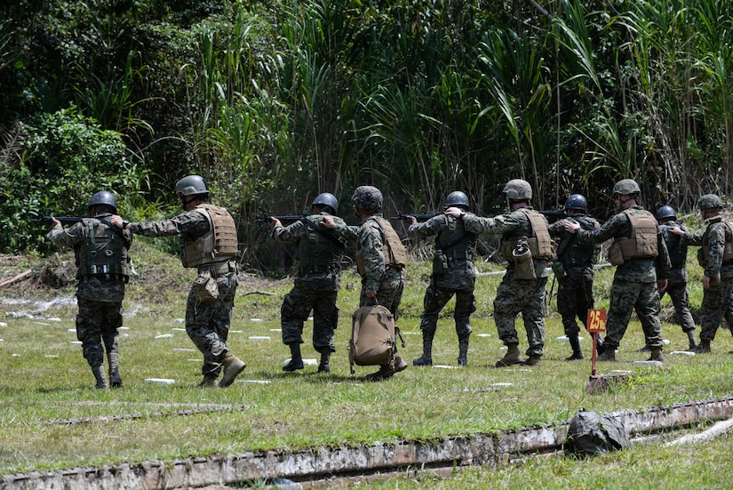 U.S. Marines supervise Guatemalan marines firing at targets March 10, 2016, Guatemala, during a live-fire exercise. The Guatemalan marines took part in a four week training course to hone their skills in basic infantry movements and urban operations with the intent of helping them combat drug trafficking organizations. (U.S. Air Force photo by Staff Sgt. Westin Warburton/RELEASED)