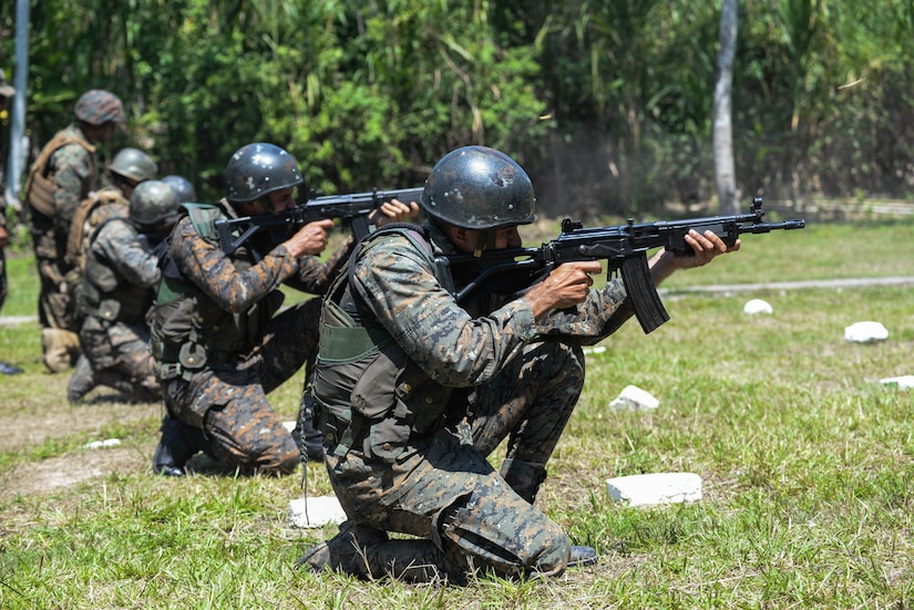 Guatemalan marines fire at targets March 10, 2016, Guatemala, during a live-fire exercise. The Guatemalan marines took part in a four week training course to hone their skills in basic infantry movements and urban operations with the intent of helping them combat drug trafficking organizations. (U.S. Air Force photo by Staff Sgt. Westin Warburton/RELEASED)
