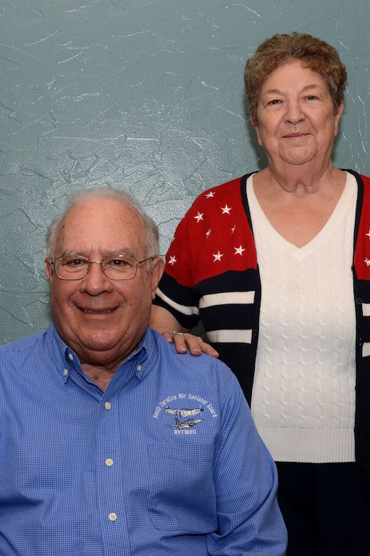 U.S. Air Force retired Master Sgt. Bob Barkalow, writer of the Retiree's Corner article for the SCANG eNewsletter, and Jean Barkalow, his wife, at the monthly retiree luncheon at the NCO Club on Fort Jackson March 1, 2016. The luncheon is held on the first Tuesday of every month and allows retirees to hear about what's happening at McEntire from active commanders. (U.S. Air National Guard photo by Airman 1st Class Megan Floyd)