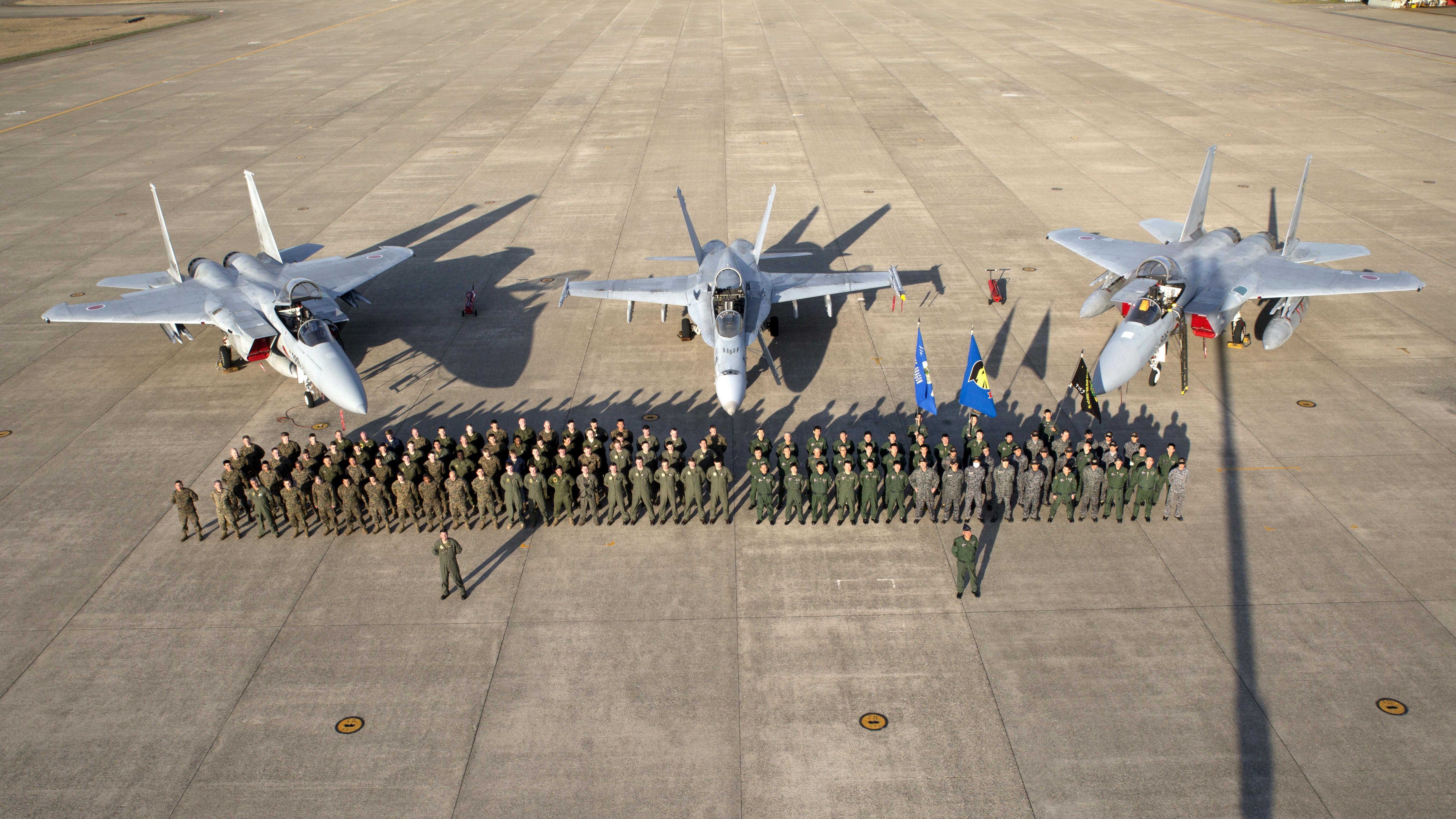 black knights fly beaktobeak with japanese aviators