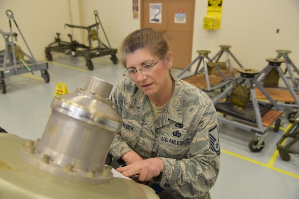 Master Sgt. Katherine Wheelock, 403rd Maintenance Group engine manager, conducts an inventory verifying the serial number on a C-130J Super Hercules aircraft propeller Feb. 5, 2016, at Keesler Air Force Base, Mississippi. Wheelock joined the Air Force in 1979, got out in 1986, and joined the Air Force Reserve's 403rd Wing in 1996 and became an Air Reserve Technician in 1998. (U.S. Air Force photo/Maj. Marnee A.C. Losurdo)