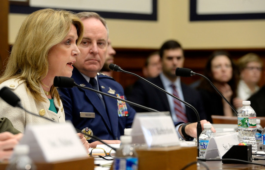Secretary of the Air Force Deborah Lee James and Air Force Chief of Staff Gen. Mark A. Welsh III testify before the House Armed Services Committee along with other Department of Defense leaders on their budget proposal for FY17 in Washington, D.C., March 16, 2016.  (U.S. Air Force photo/Scott M. Ash)