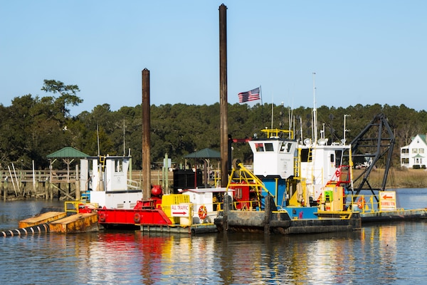 The Charleston District recently completed the dredging of Breach Inlet and Jeremy Creek, two critical reaches in the Atlantic Intracoastal Waterway.